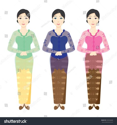 Baju Kebaya Clipart wearing various color kebaya stock vector 303058688