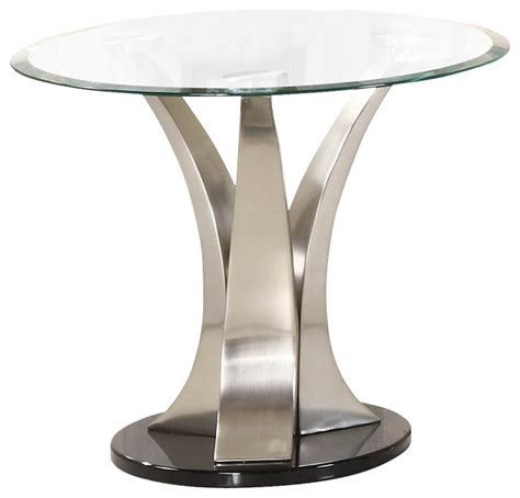 chrome accent tables homelegance charlaine round glass end table on chrome