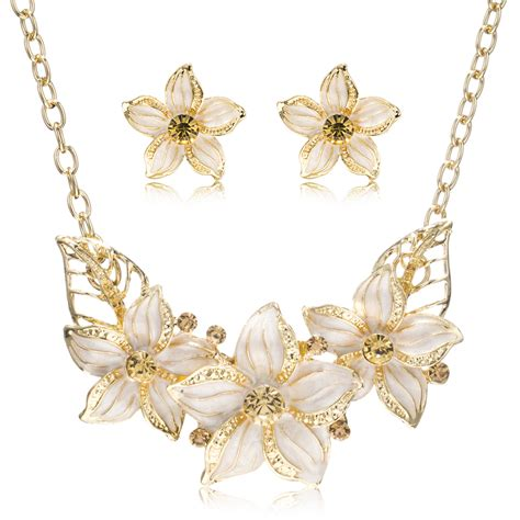 how to make flower jewelry cz rhinestone enamel flowers jewelry sets gold plating
