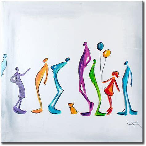 moderne figuren prachtig wit helder canvasschilderij met een aantal