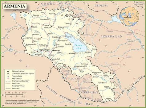 map of armenia large detailed road map of armenia