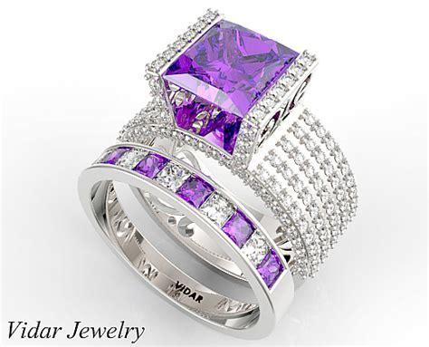 Unique Princess Cut Purple Amethyst Wedding Ring Set