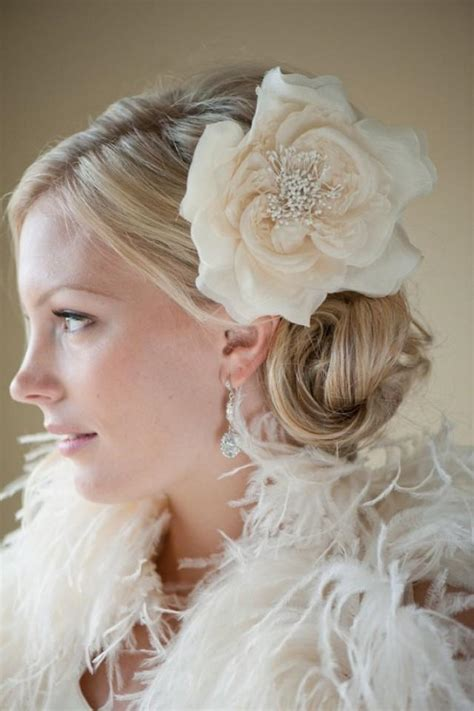 white wedding hairstyles bridal silk flower hairclip fascinator head piece ivory