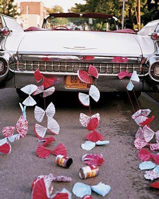 wedding  married signs  getaway cars