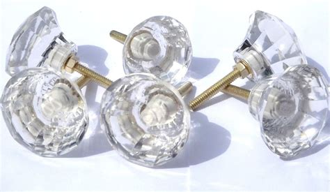 Glass Cut Glass Large Clear Crystal Drawer Cupboard Cut Glass Door Knobs
