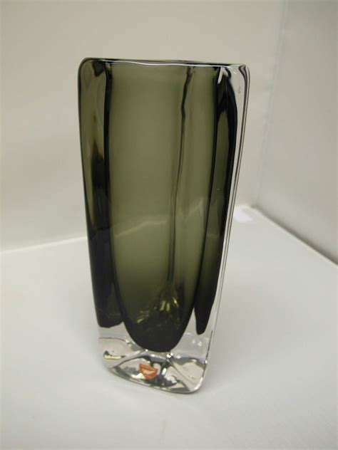 Smoked Glass Vase by The Retrobarn 187 Orrefors Smoked Glass Vase Signed By Nils