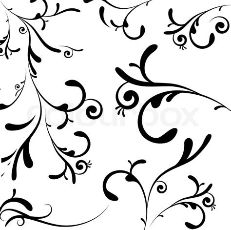 Decorative Flowers For Home by A Collection Of Black Leaf And Vine Like Swirls Stock
