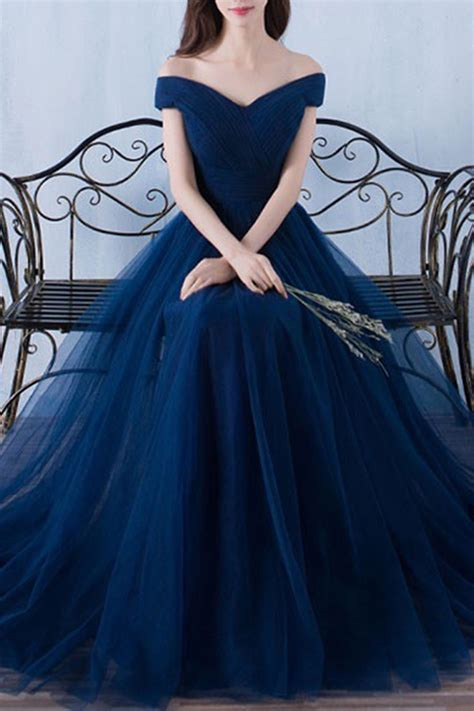 Gown Blue shoulder prom dress gown beautiful blue