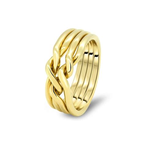 mens gold 4cn m puzzle rings creations