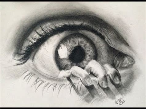 realistic eye drawing in charcoal graphites youtube