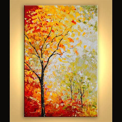 acrylic tree original autumn trees landscape painting by