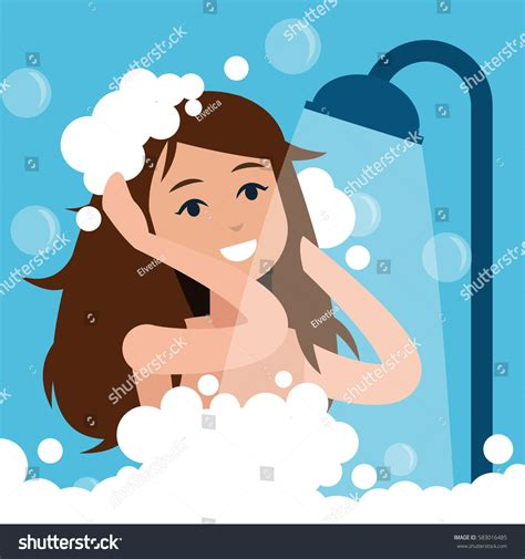 Takes A Shower by Takes Shower Relaxing Bathroom Stock Vector