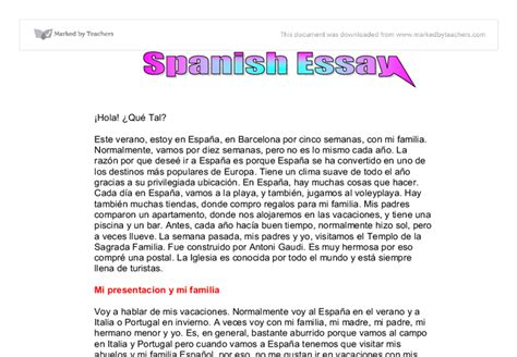 Mi Familia Essay by El Viaje Problematico Y Mi Familia Gcse Modern Foreign Languages Marked By Teachers