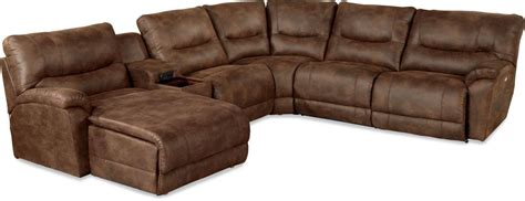 lazy boy sectional recliner chaise casual six power reclining sectional sofa with las