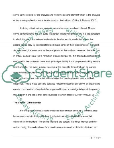 Critical Incident Essay by Critical Incident Analysis Definition Models And Frameworks Essay