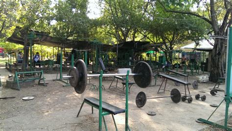 prison weight room at lumphini park bangkok adventures