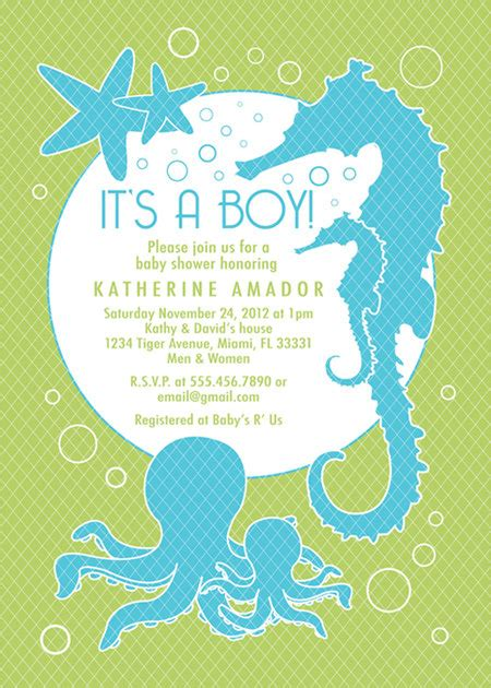 Baby Boy Welcome Home Decorations Sea And Ocean Theme Baby Shower Invitation Custom Boy
