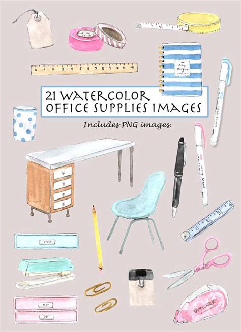 Office Supplies To Me Vintage Office Supply Clipart