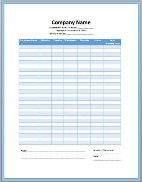 employee attendance template posts fintracker