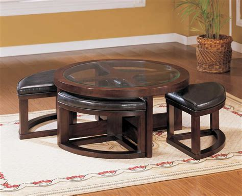 round coffee table with 4 ottomans homelegance brussel round cocktail table with 4 ottomans