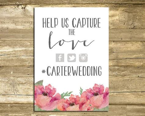 Wedding Wishes Hashtags by Wedding Hashtag Sign Digital Printable 5x7 Floral