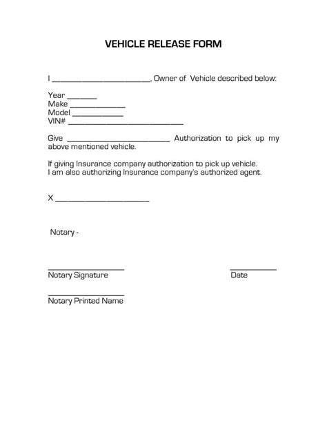 Notarized Letter Release Vehicle Vehicle Release Form Release Forms Release Forms