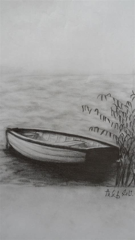 how to draw a boat on a lake simple boat pencil drawing www imgkid the image