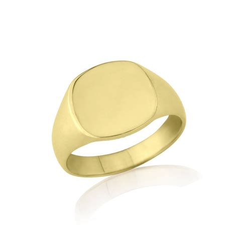 ring cusions 9kt yellow gold cushion signet ring