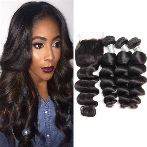 wiki closure hair extension wholesale brazilian hair loose wave 3 bundles with closure