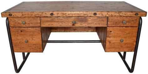 56 Quot Wide Desk Office Modern Solid Old Pine Wood Metal Wood Desk