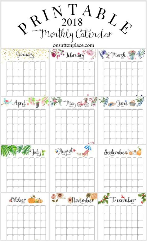 2018 Printable Monthly Calendar 2018 Printable Monthly Calendar With Planner Extras