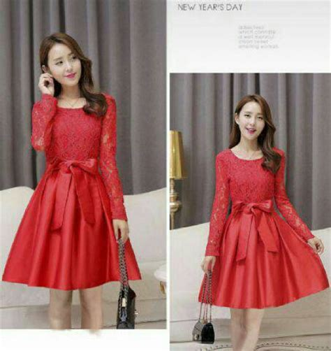 Dress Merah Kombi Brukat baju mini dress pendek merah brukat terbaru modern