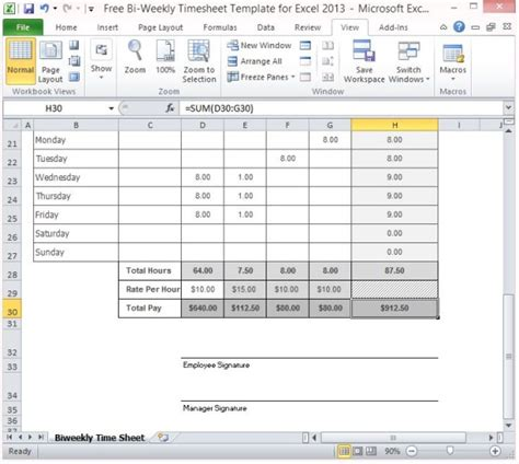 Free Bi Weekly Timesheet Template For Excel 2013 Timesheet Template Excel Free