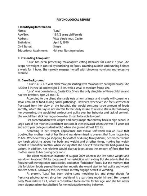 psychosocial report psychological report bulimia