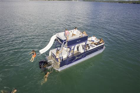 pontoon party boat with slide catalina platinum funship pontoon boat avalon pontoon boats
