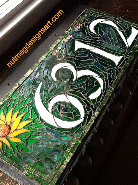 Wordless Wednesday Mosaic House Number In Green With The Sun Shining Nutmeg Designs