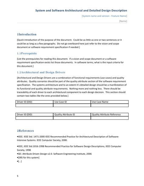 application design document template software architectural and detailed design description