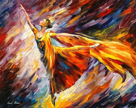 Ballerina Duvet Gold Wave Palette Knife Oil Painting On Canvas By Leonid