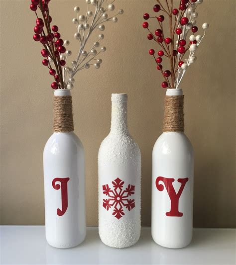 decorate wine bottle for christmas wine bottles decorations snow wine bottles