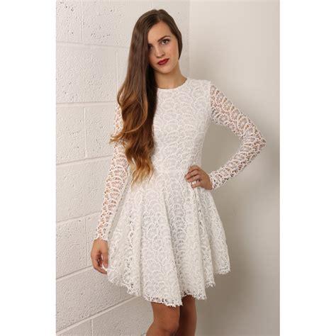 White Lace Sleeved Dress black skater dress sleeve dress ideas