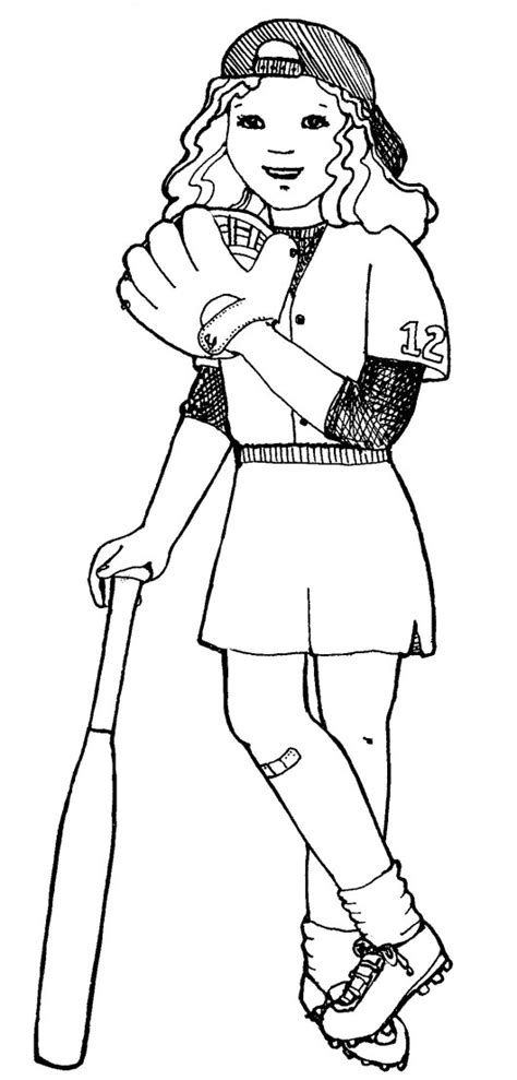 softball coloring pages softball player and equipments to play coloring page
