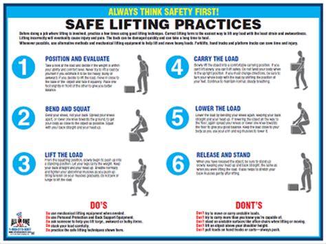 printable safe lifting poster safe lifting english