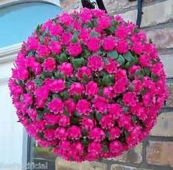 Topiary Balls Artificial - best artificial 28cm pink rose topiary hanging flower ball grass plant new ebay