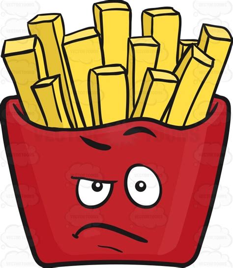 A Red Colored Root Vegetable - angry red pack of french fries emoji cartoon clipart vector toons