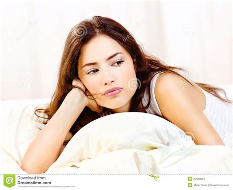 lie in bed woman lie in bed at home royalty free stock images image 23563819