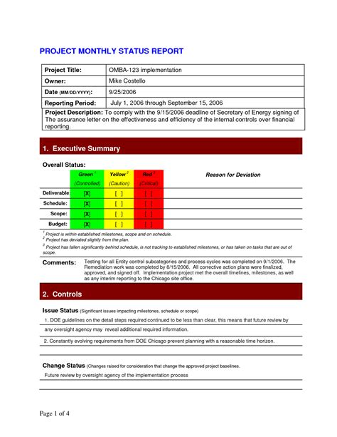 project management status report template monthly status report template project management 1