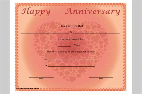 Anniversary Certificate Template   Sample Templates
