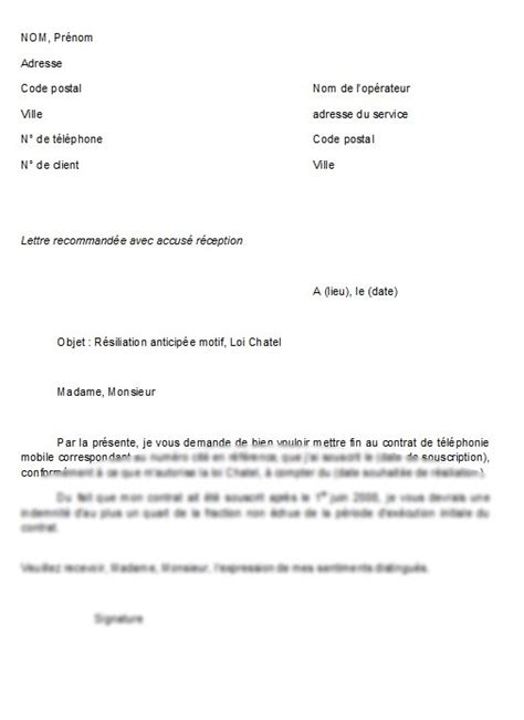 Lettre De Resiliation Z5 Modele Resiliation Contrat Telephone Mobile Document