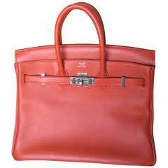 Hb Luxury Ostrich Leather Ghw Charms 25cm Bags 84123 Herm 232 S Orange Ostrich Skin 35 Cm Birkin Bag With Gold