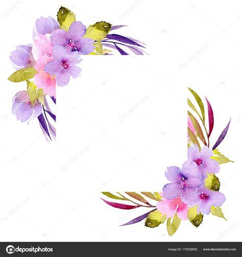 cornice fiori cornice bordo angolo con fiori rosa e viola e rami verdi